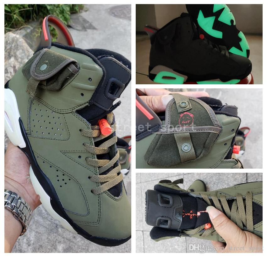 Travis Scott 6 OG Mens Basketball Shoes Cactus Jack x 6s Glow In Dark 3M Reflective Army Green Tinker TS SP des Chaussures