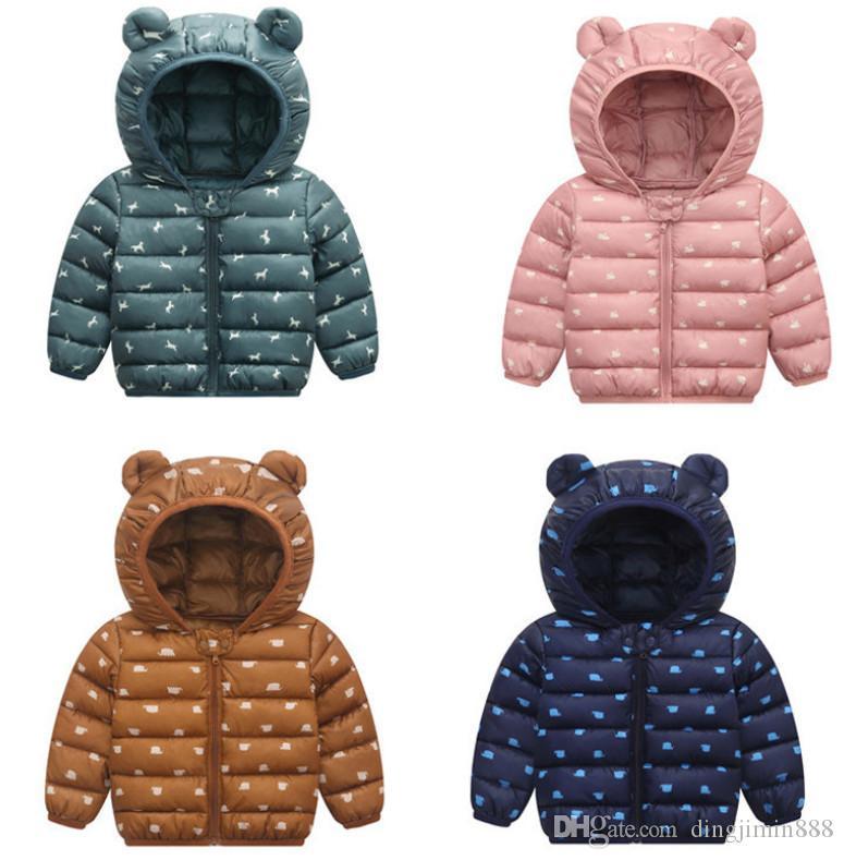 Hot Sale bebê casacos de inverno Luz Branca Duck Down Brasão bebê Jacket para Brasão Meninas Meninos Parka Casacos Hoodies do soprador
