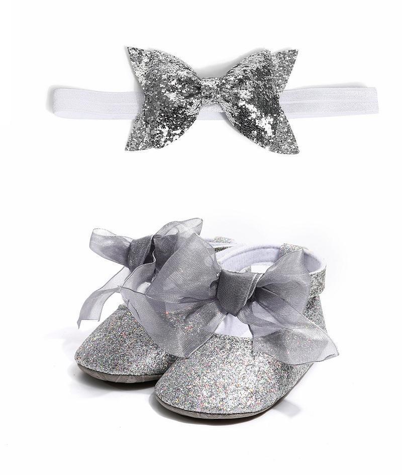 zapatos de bebé de la Navidad Vieeoease suave antideslizante Zapatos linda del niño primeros caminante con diadema 2019 otoño invierno CC-637