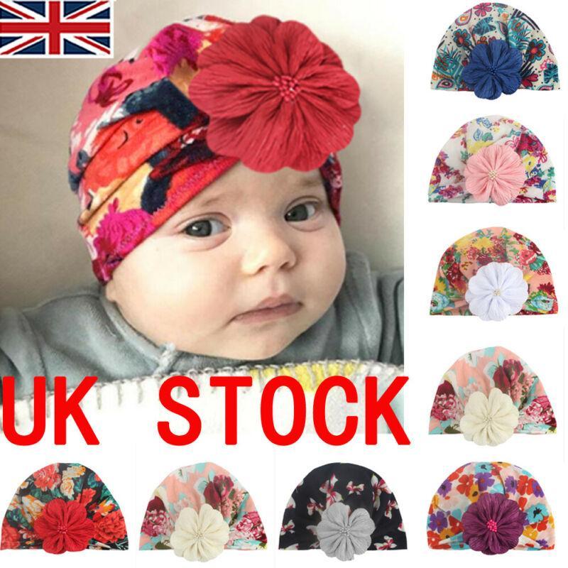 Infantile pour bébé Enfants fille Turban Corolle Wrap réglable Inde Chapeau coton Casquette bébé floraux chapeaux mignon