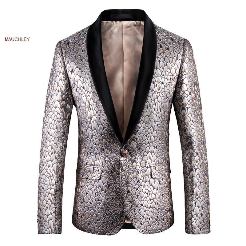 Costumes pour hommes Blazers Slim Fit Poissons Balances de poisson imprimé Blazer Hommes Marche Mens Veste Veste Veste Costume 5XL Grande taille Hiver Jecket 2021
