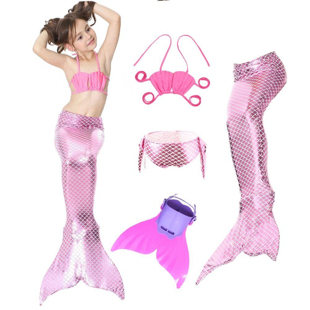 Kids Mermaid Swimsuit Bikini Girls Mermaid Tail with Flipper Swim Child's Wear Split Swimsuit Tail Clothing Swimwear