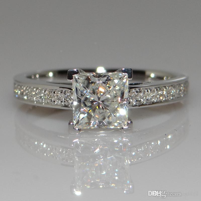 Grande promozione reale 925 Pure Anelli d'argento da sposa per le donne 0,7 gioielli Ct della CZ Diamond Engagement Ring d'argento