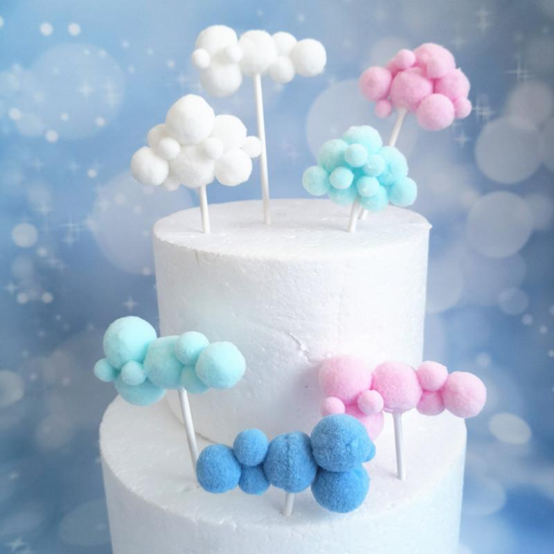 Soft Pompom Cloud Cake Topper Baby Shower Birthday DIY Cake Flag Decorations n
