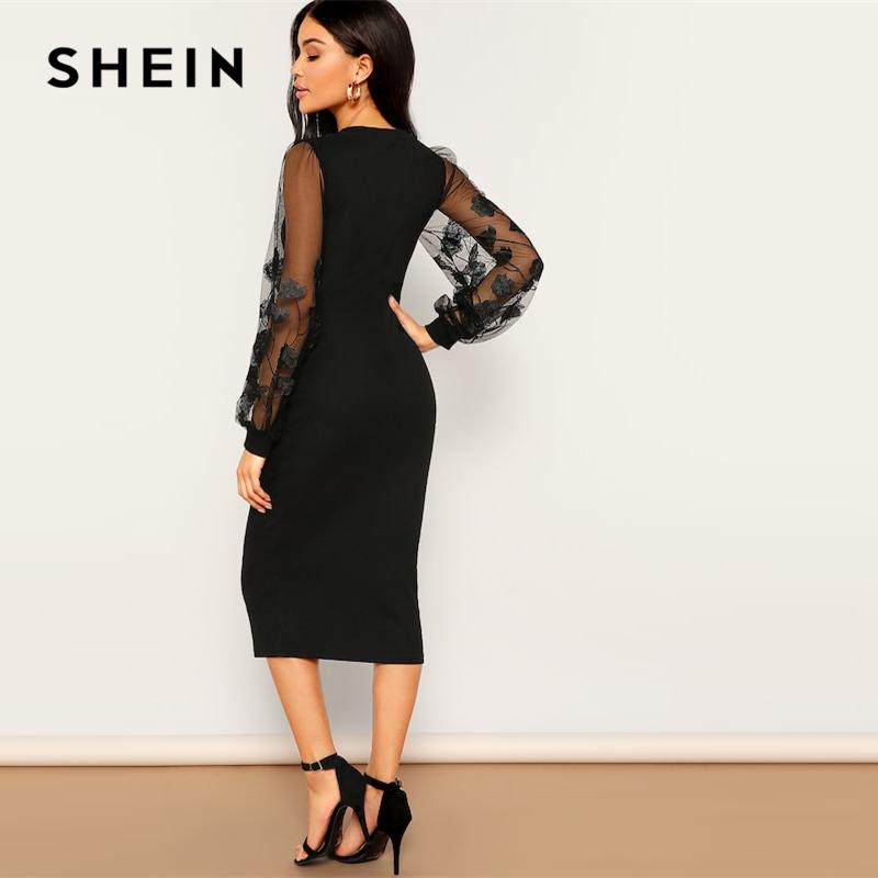 bb072aa7c5 SHEIN Black Embroidery Mesh Insert Stretchy Bishop Sleeve Fitted Knee  Length Bodycon Dress Women 2019 Spring Sheath Dresses Coctail Dresses  Bridesmaids ...