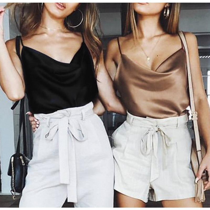 Verão Blusa das Mulheres Casuais Mulheres Tops Com Decote Em V Sólida Cetim Sem Mangas Backless Sexy Camis Shirts Feminino Casual