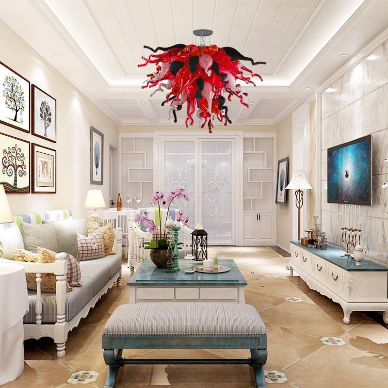 현대 크리스탈 샹들리에 무라 노 유리 천장 샹들리에 램프 LED 조명 크리 에이 티브 펜던트 라이트 홈 호텔 거실 조명