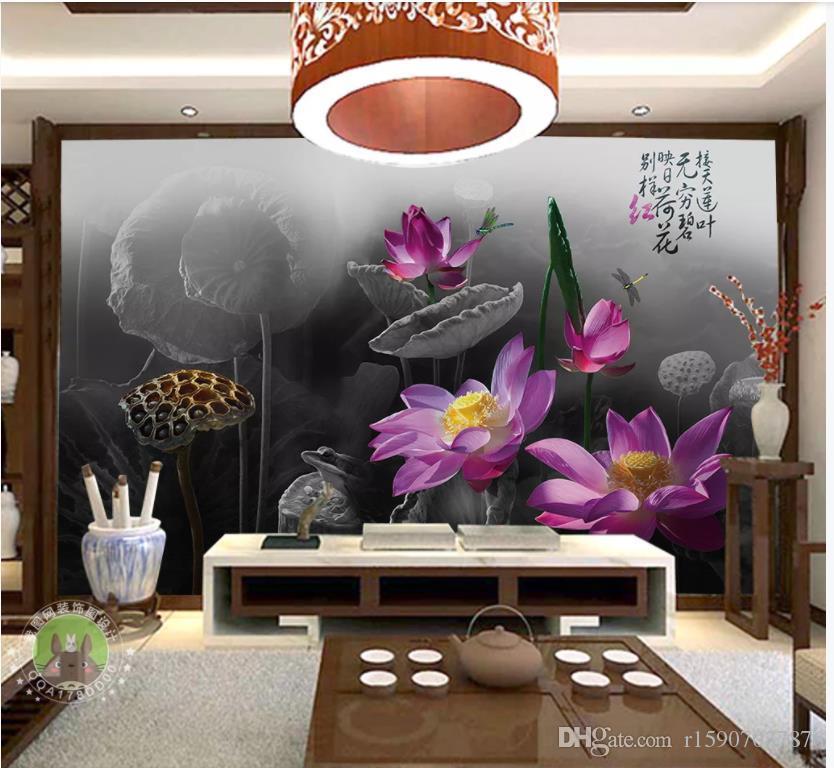 Papiers peints muraux photo personnalisés peintures murales 3d Encre bassin chinois lotus salon wallapper fonds d'écran