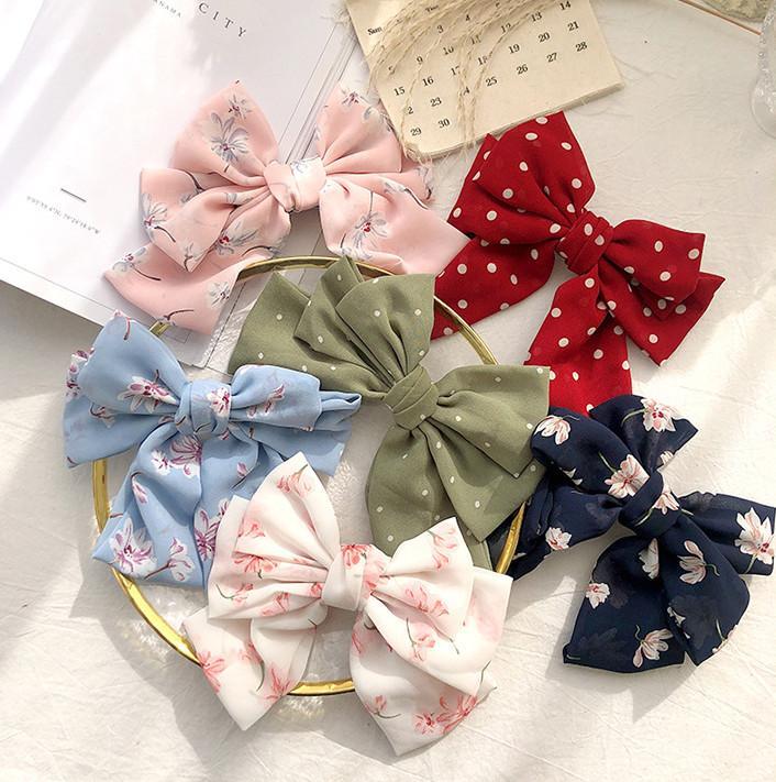 Niñas puntos Arcos horquillas nuevos niños de la princesa niños barrettes impreso floral del Bowknot del pelo de la gasa dulce pinza de pelo accesoria 21cm C6456