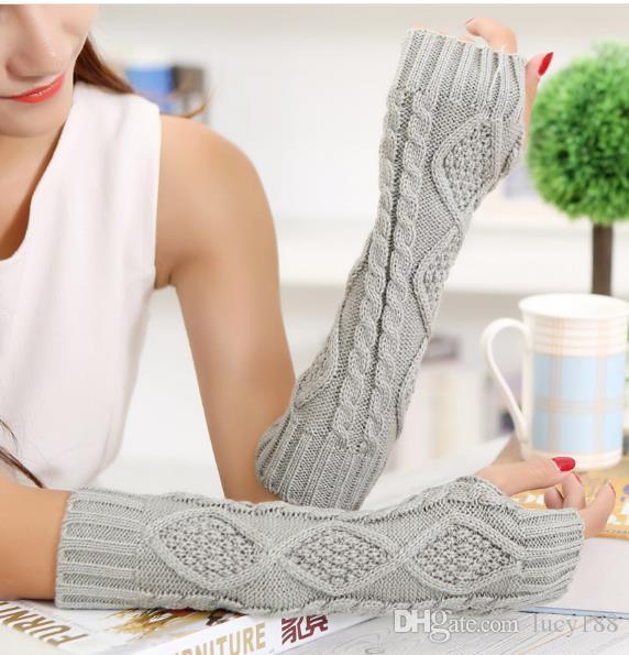 Inverno senhora lã tricô losango leva metade refere-se a 30 cm de comprimento quentes fabricantes de luvas sem dedos atacado