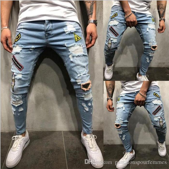 Jeans Moda ricamato stampati pantaloni Zipper forza elastica casuale di Hip Hop dei pantaloni della matita Patch Hole Mens