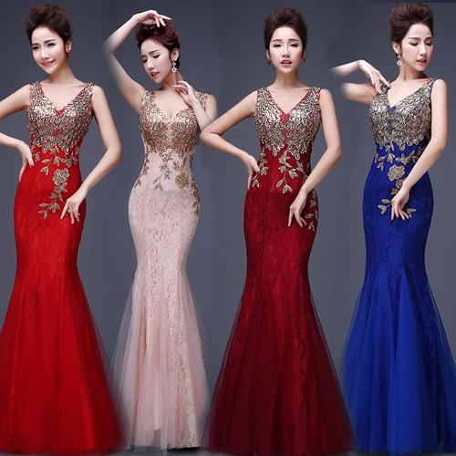 New Design Mermaid V-neck Sweep Train Chiffon Crystal Prom Dresses Beaded Pleats Discount Prom Gowns Long Formal Sexy Evening Dresses