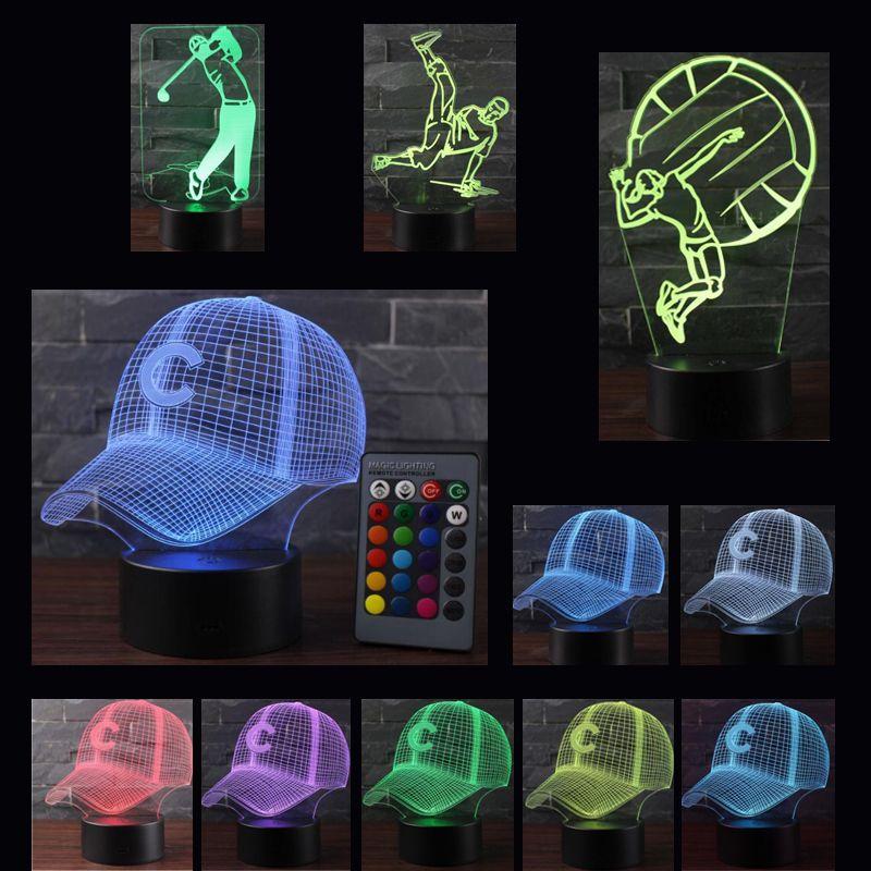 Control táctil remoto 3D LED Light Night deporte serie 8 patrones Cambiar LED mesa lámpara de escritorio regalo de los niños decoración del hogar base posterior