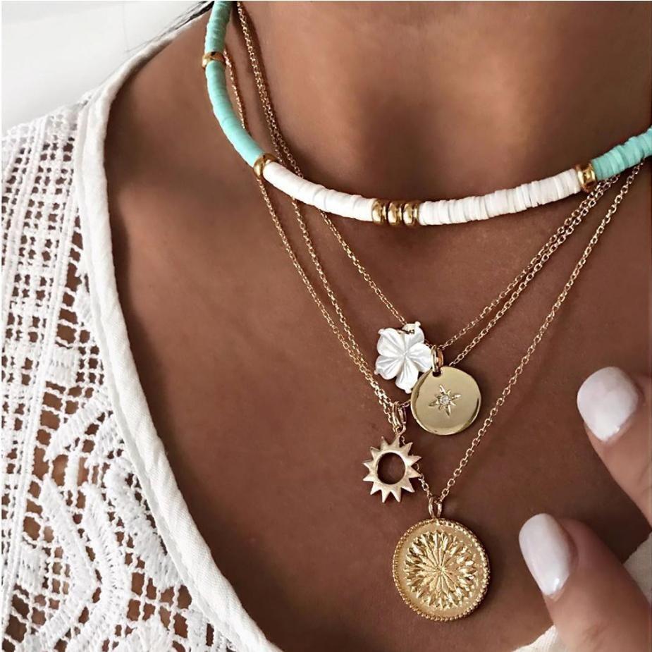 Colar multi camada círculo cadeia gargantilha disco redondo flor branca com corrente de metal Sun Star desenho pendente cor banhados a ouro