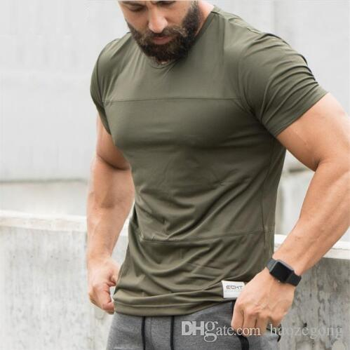 New Trend Casual T-shirt Gym Black white Army green Breathable Men T Shirt Short Sleeve High Quality Men clothing With M-XXL