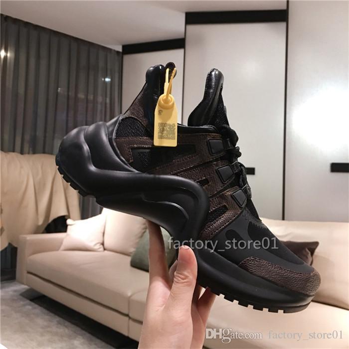 2019 Nouveaux Hommes Femmes Chaussures Chaussures Belle Plateforme Casual Baskets Créateurs de Luxe Créateur Chaussures Arc En Cuir Couleurs Habillées Chaussures De Tennis Bottes