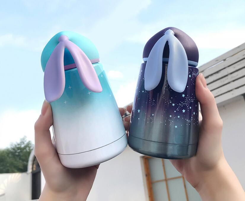500 Ml Bande Dessinée Créative Animaux Mignons Lapin bouteille d'eau Beau Design Moderne Portable en acier inoxydable bouteilles de sport
