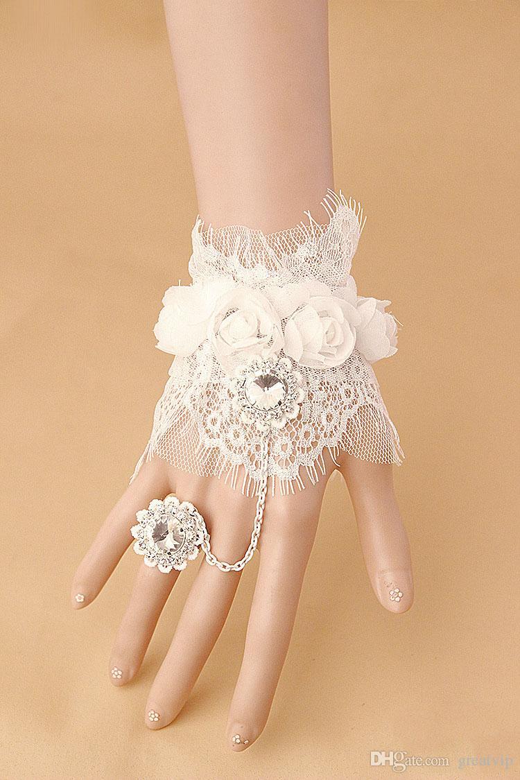 Brides Bracelet Brace Lace Crystals Bridal Gloves Rhinestones Pearls Ring Bracelet Wristband Wedding Accessories Lacing Cheap