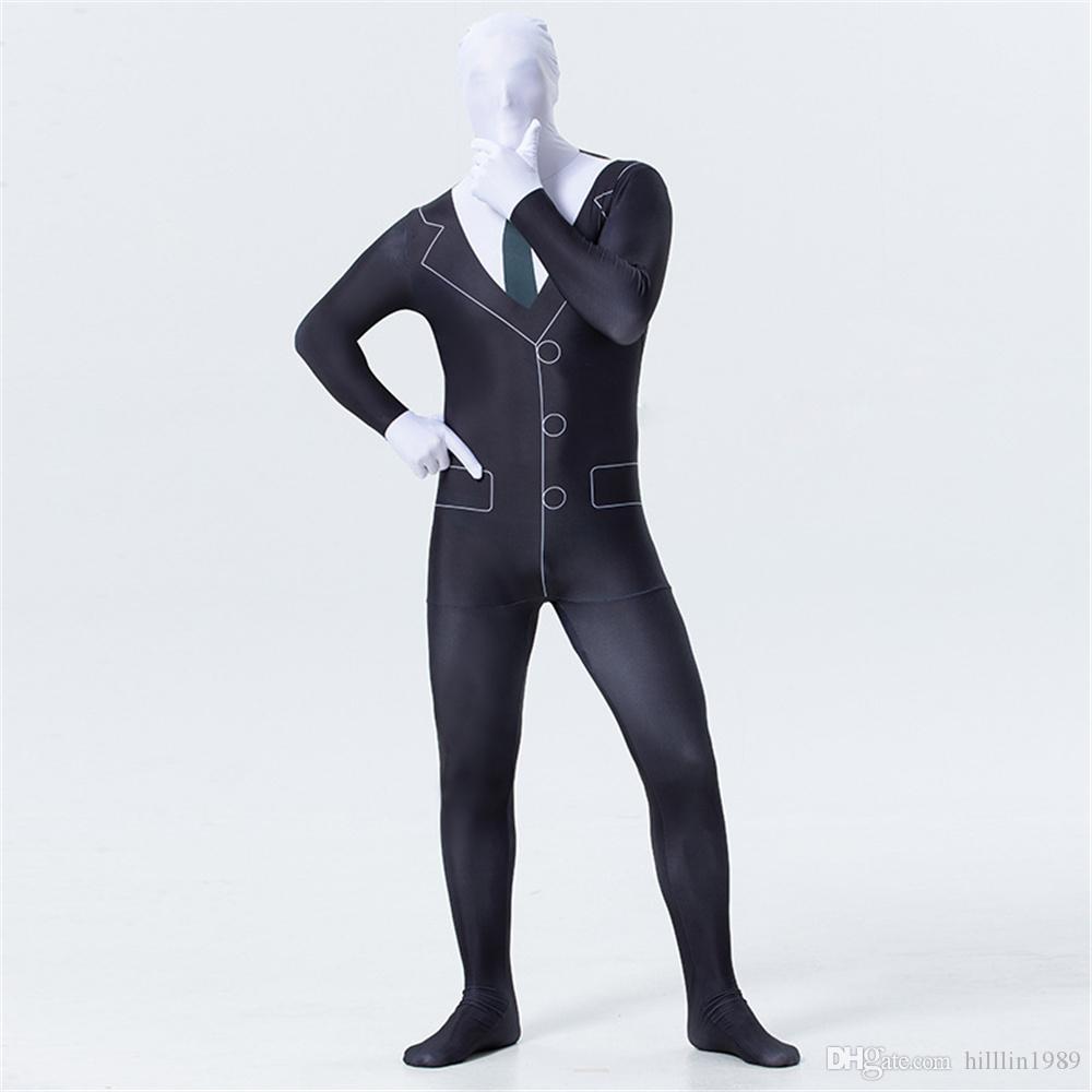 경찰 코스프레 전신 타이즈 카니발 턱시도 단계 유니폼 20 % 극단 COS 의상 할로윈 검은 색 정장 프린트 점프 수트 재미 형사 테마 의상