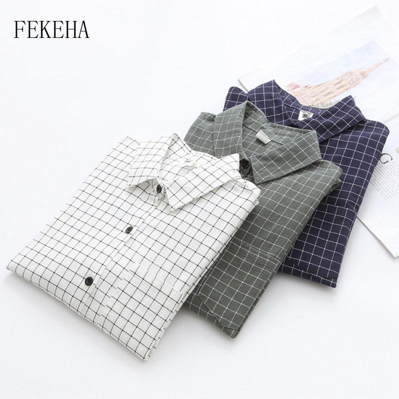 قمصان FEKEHA المرأة منقوشة 2020 أزرار الخريف كم طويل الجيب مكتب البلوزات قميص سيدة القميص القطن تم الفحص القمم عرضي