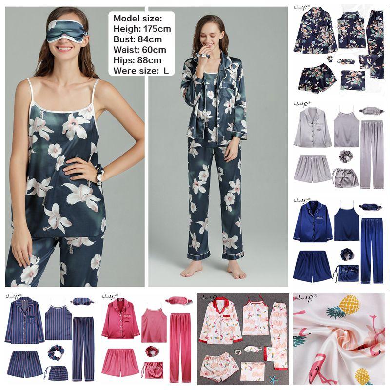 Sleepwear 2 & 7 Pieces Pyjama Set 2019 Women Spring Summer Sexy Silk Pajamas Sets Satin Sleep Suit Sweet Cute Nightwear Homewear Y200425