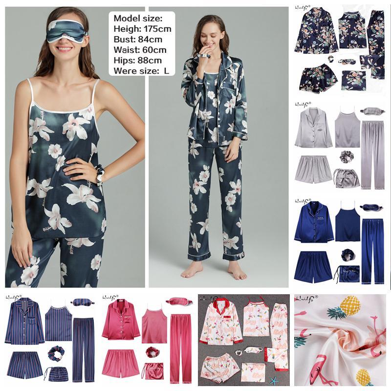 Pijamas 2 7 Pieces Pajama Set 2019 Mulheres Primavera Verão Sexy Silk Pajamas Define Suit Satin sono doce bonito Nightwear Homewear Y200425