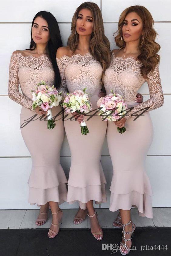 Blush Pink Neck Elastic Fleck Brautjungfer Kleider Sheer Mesh Top Spitze Applique Knöchellänge Hochzeitsgast Trauzeugin Kleid