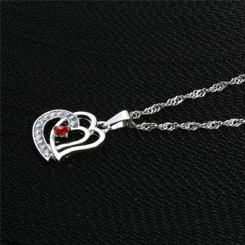 Cubic Zirconia Love Necklace heart Pendant fashion Necklaces for Women