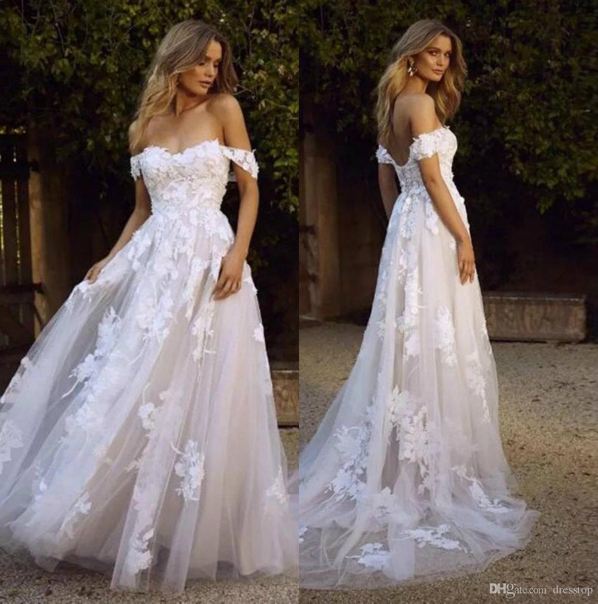 Discount Vintage 2019 White Wedding Dresses