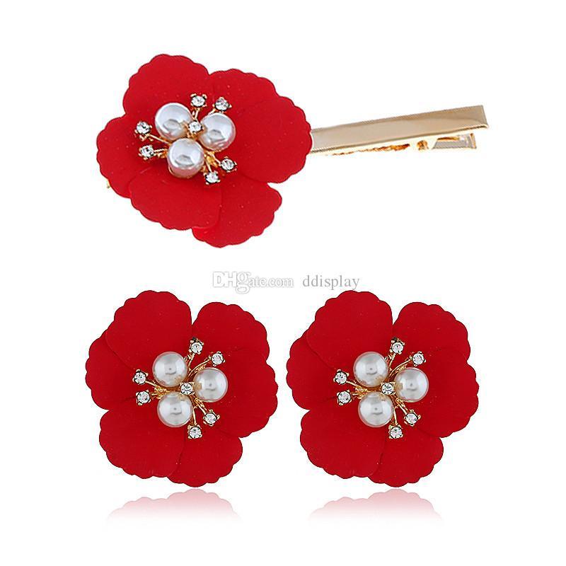 [DDisplay] Süße Art- und Weiselegierungs-Blumen-Perlen-Ohrring-Haarspange Installationssatz-Tendenz-reizende Mehrfarbenohrring-Haar-Klipp-Zusatz-Großverkauf