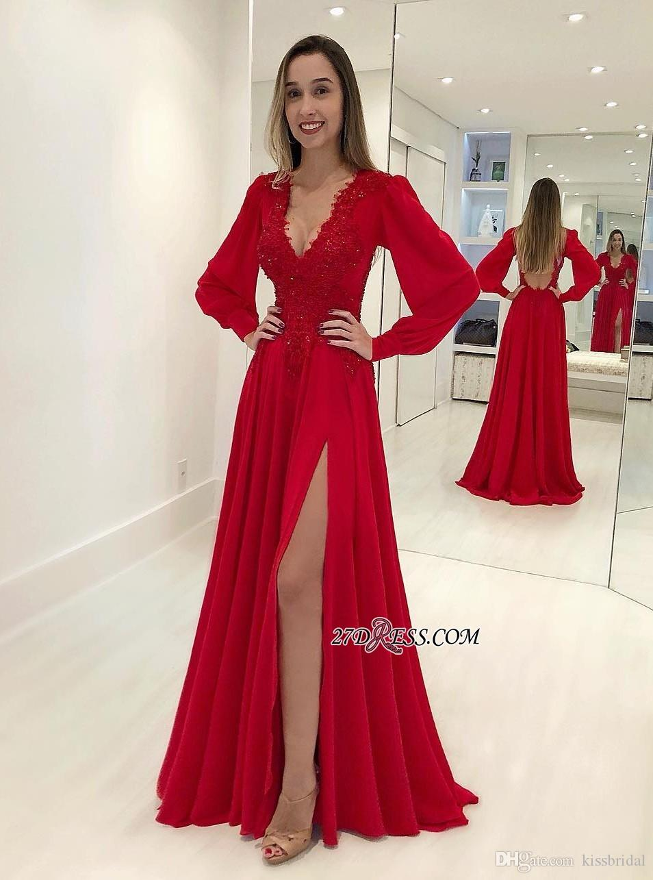 Großhandel Robes De Soiree Rot Ballkleider Langarm Split Abendkleider  Backless Cocktail Party Kleid Spitze Abendkleid Vestidos De Fiesta Von