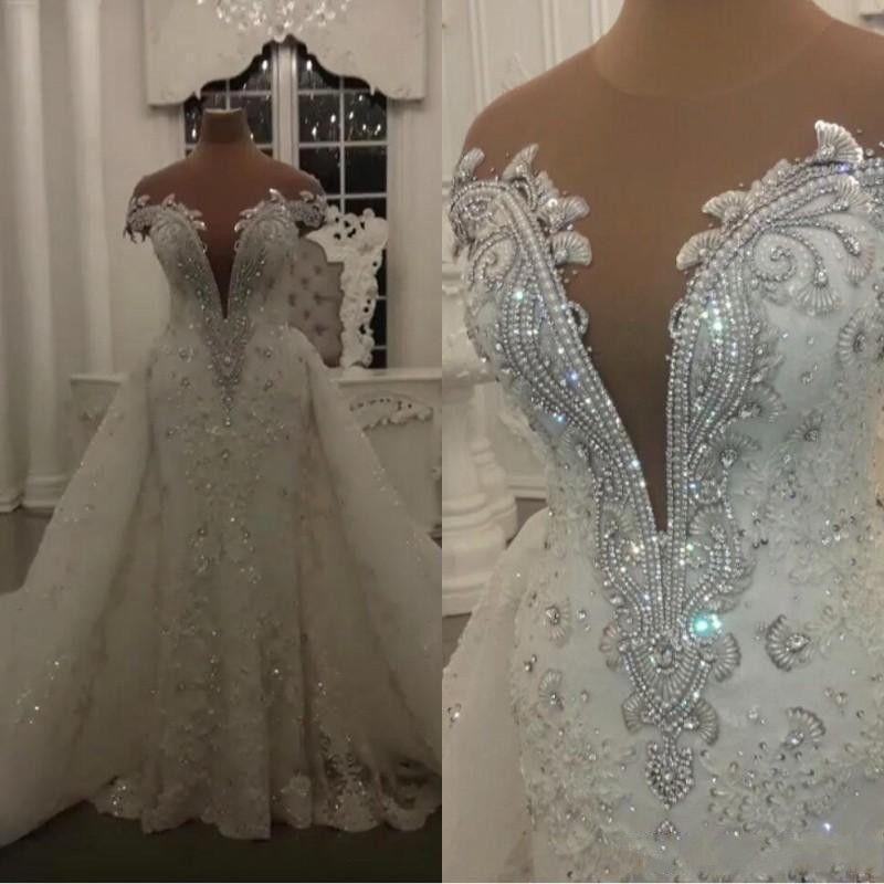 2020 고급스러운 로브 드 MARIAGE 현대 레이스 인어 웨딩 드레스 빛나는 크리스탈 구슬 아플리케 쉬어 목 웨딩 신부 드레스