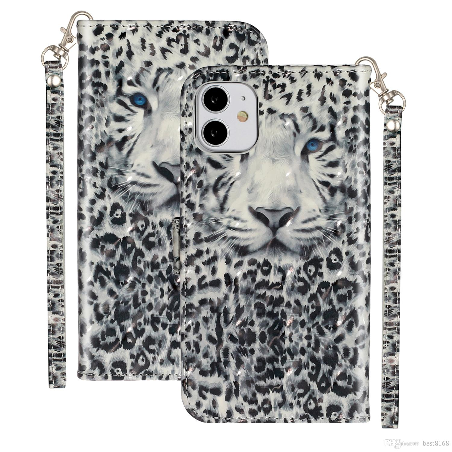 3D Leopard Leather Wallet Case For Iphone 12 11 Pro Max XR XS MAX 8 7 6 5 Wolf Cat Marble Flower Flip Cover Luxury Card Slot ID Holder Pouch