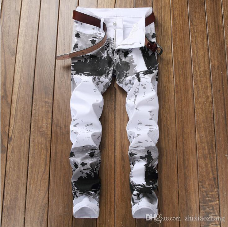 New American style jeans mens digital print pants self-cultivation flower pants fashion elastic feet casual trousers men white 09