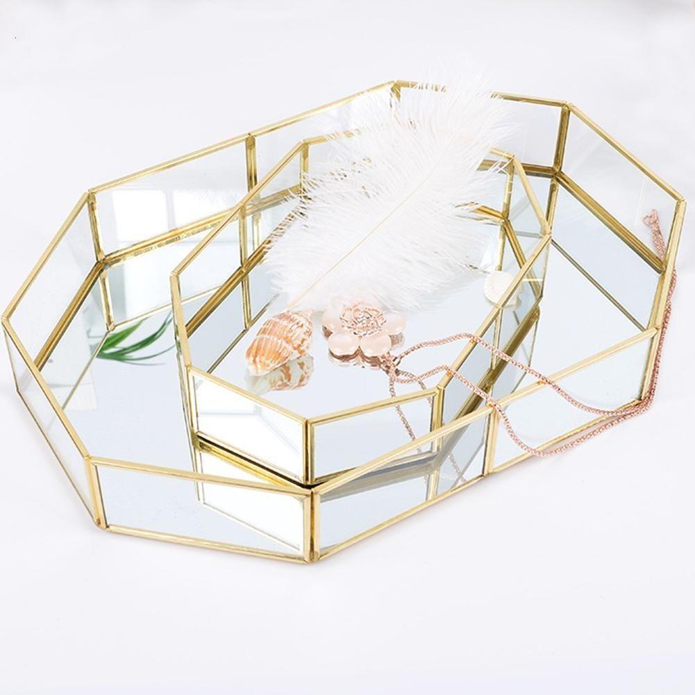 Макияж для хранения корзины Урожай Золотой Polygon Shaped Организатор Brass Tone Прозрачное стекло Богато ювелирные изделия Sundries хранения Tray SH190923