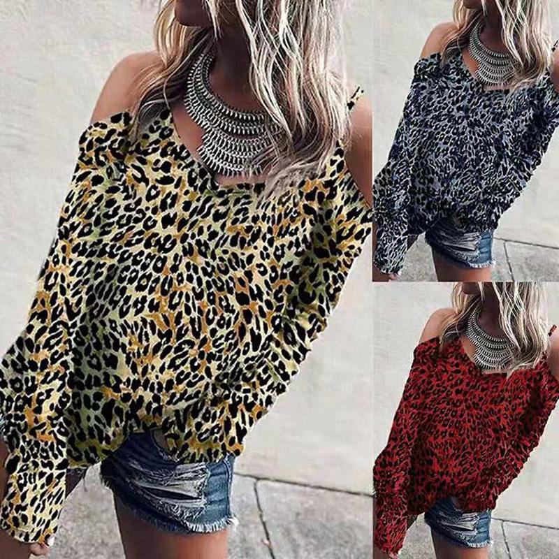 2020 디자이너 여자 봄 디자이너 섹시한 V 넥 캐주얼 셔츠 패션 섹시한 의류 긴 소매 캐주얼 의류 편안 인쇄 표범