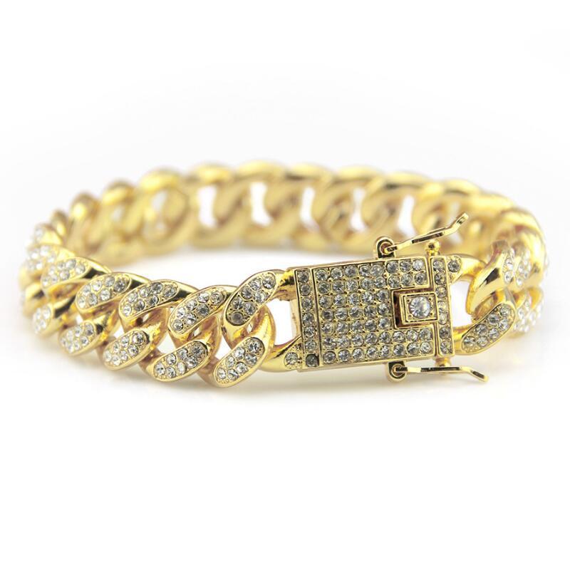 Cuban Chain Bracelet For Mens Tops Quality Hip Hop Bracelets Gold Bracelets Pop Club Accessories Plating Bangle Zircon Chains