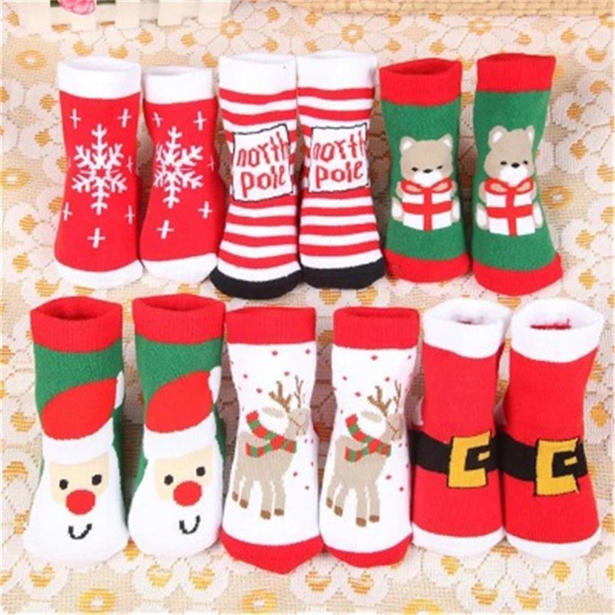 Рождественские зимние ребёнки Мальчики Носки Разминка Дети Дети Полосатый Терри Снежинка Elk Санта-Клауса Рождественский подарок носки