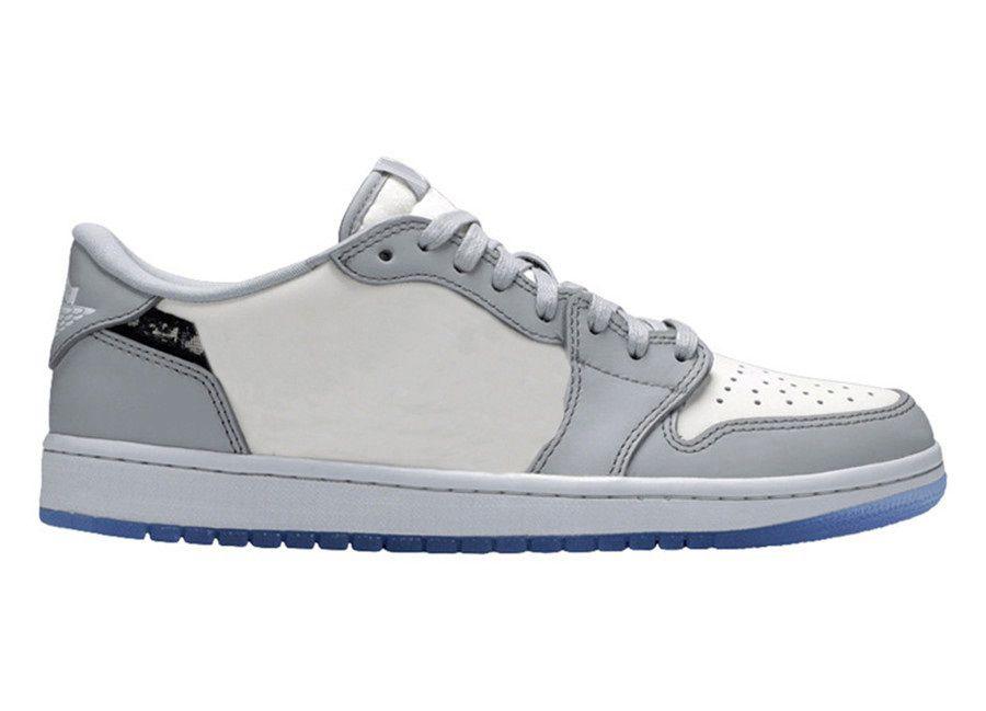 2020 authentiques x 1 Low High OG Basketball Chaussures Hommes Loup gris voile Photon poussière blanche 1S Formateurs sport Chaussures Sneakers ETUI