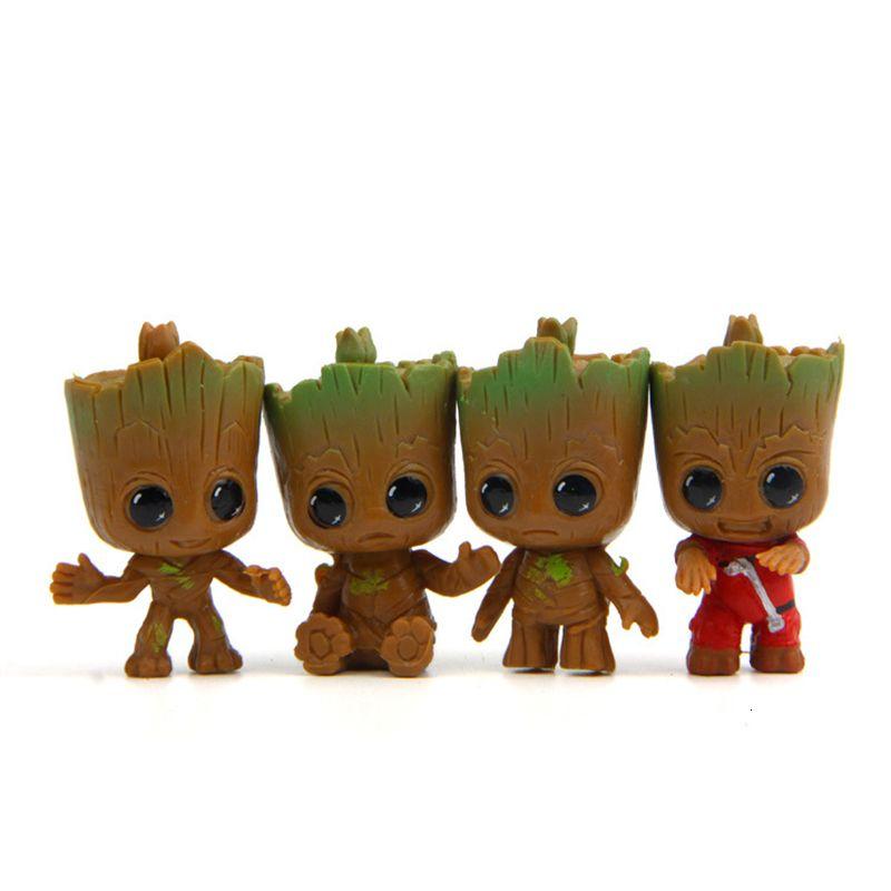 4PCS / مجموعة مصغرة الصغيرة الناس شجرة DIY الجنية حديقة مايكرو دمية النبات وعاء ديكور بونساي تيراريوم حلية لعب