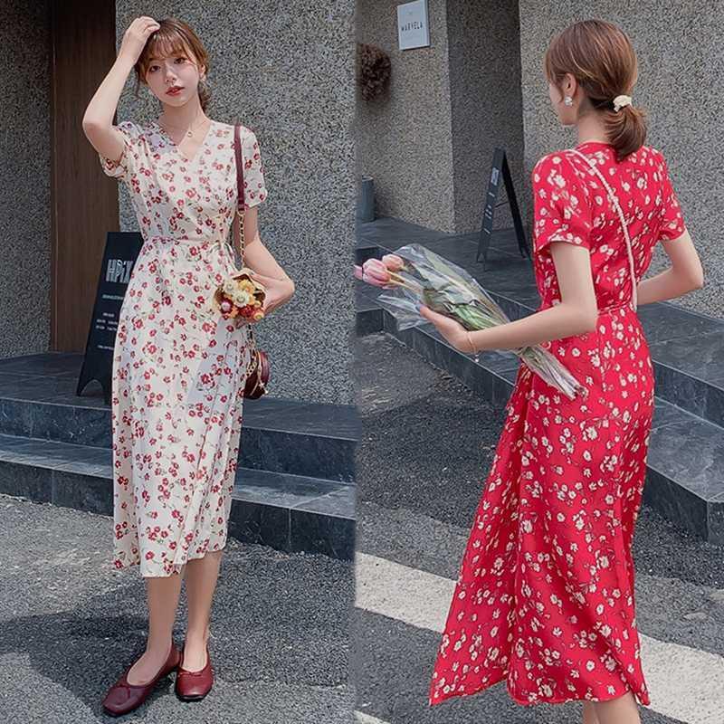 Mulheres Long Red Apricot Chiffon Floral vestido de verão 2020 Runway elegante da festa Vintage Vestido coreano Boho Praia Vestidos de férias