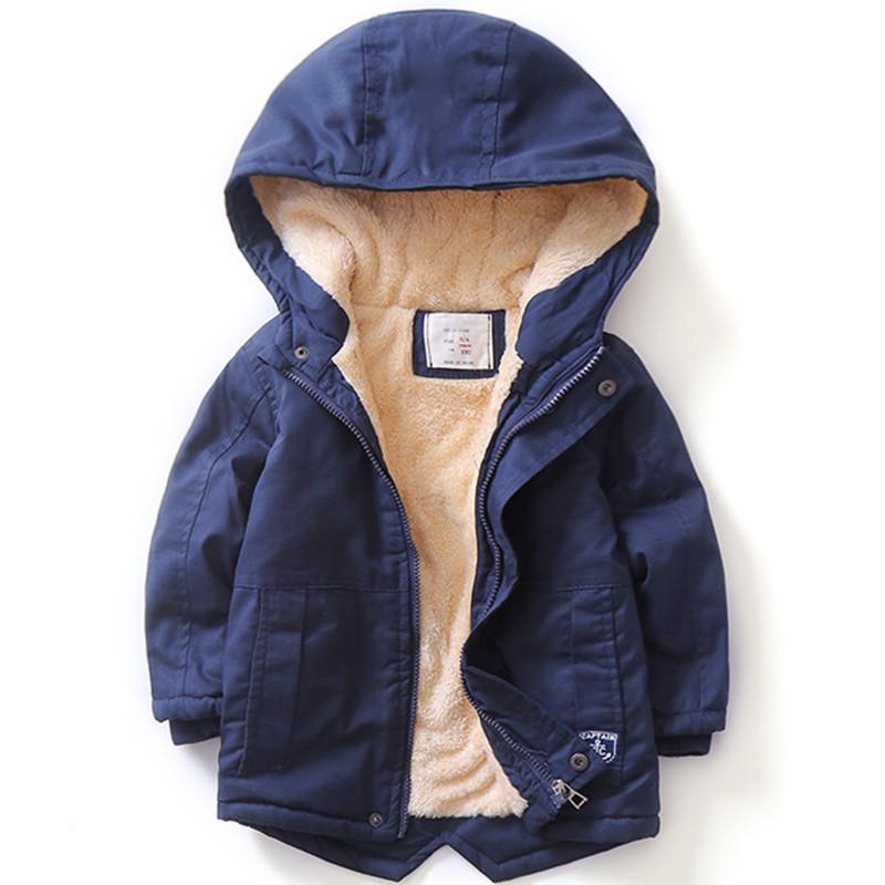 Новый 2019 весна осень зима мальчики девочки куртки пальто большие мальчики хлопок парки двойной член толстый теплый с капюшоном