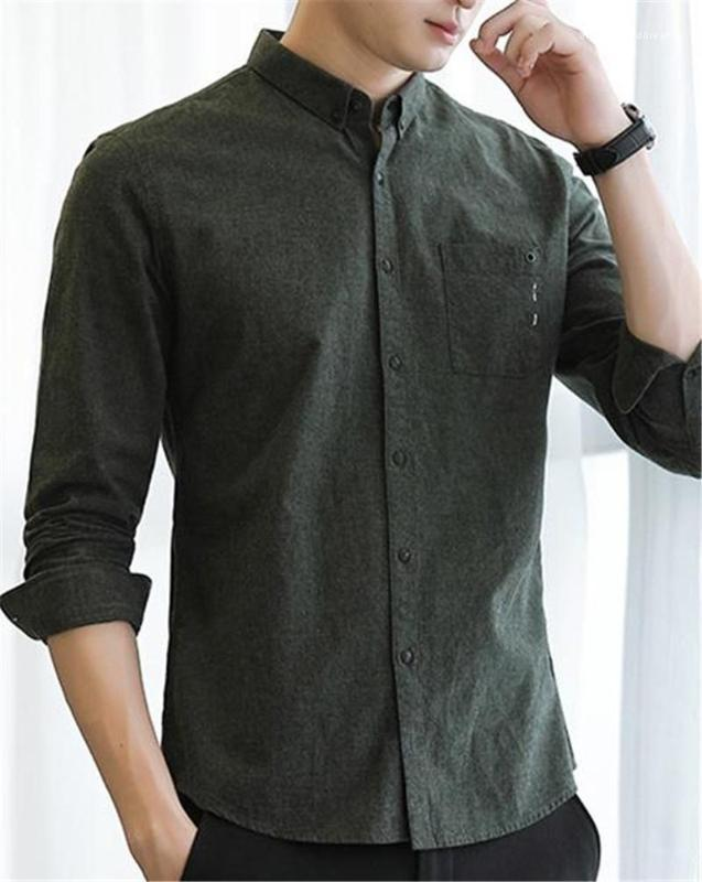 Повседневные Рубашки Мода Однобортный Карман Обшитый Панелями Мужские Дизайнерские Рубашки Повседневная Мужская Одежда Сплошной Цвет Мужские