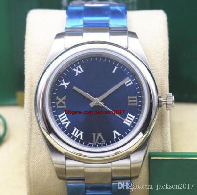 Рождественский подарок 5 Стили 05 Неиспользуемые 40 мм Стальные браслеты Стальные вечные Смотреть Модель 116000 Индекс циферблат Автоматические механические мужские часы