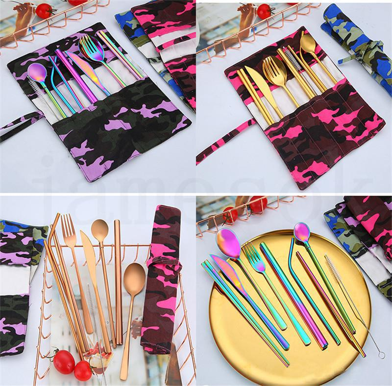 New 304 stainless steel knife fork spoon chopsticks straw spoon 9 piece environmental protection portable outdoor tableware set dc804