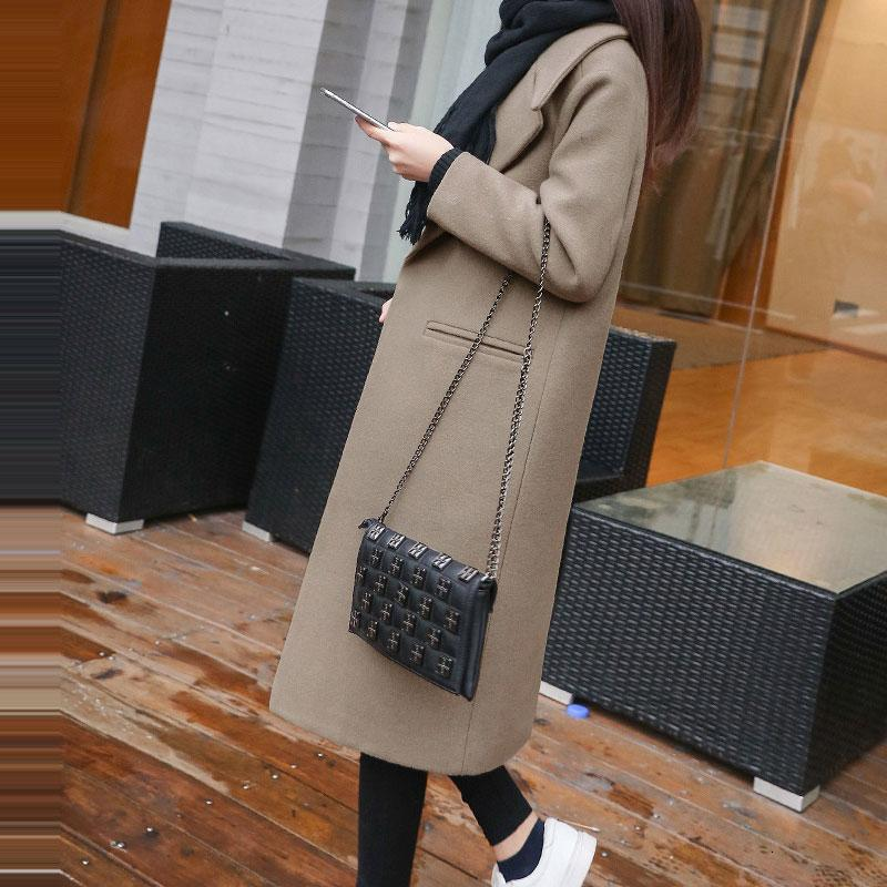 2019 New Fashion Female Autumn Winter Wool Coats Single Breasted Slim Type Long Woolen Coat Spring Autumn Women's Wool Coat T190913