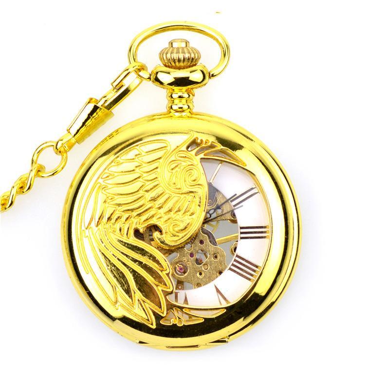 2019Hollow Diseño de Eagle del tatuaje Cuerda Manual mecánico modelo de la vendimia del reloj de bolsillo esquelético de Steampunk mecánicos relojes de bolsillo