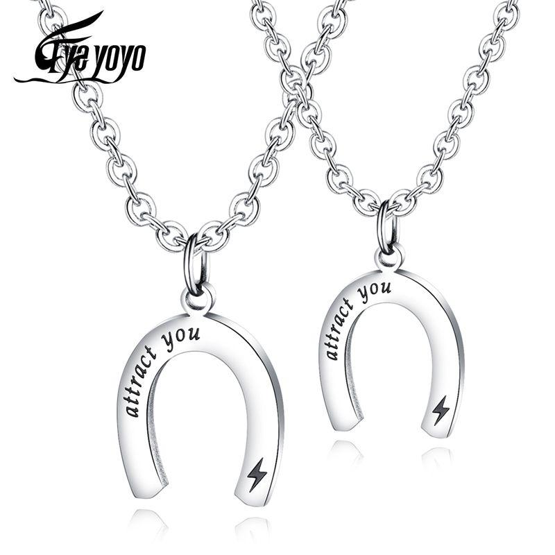 EyeYoYo Art und Weise U-förmigen Magneten Paar Halskette Kreative Titan Stahl Anhänger Liebhaber-Geschenk