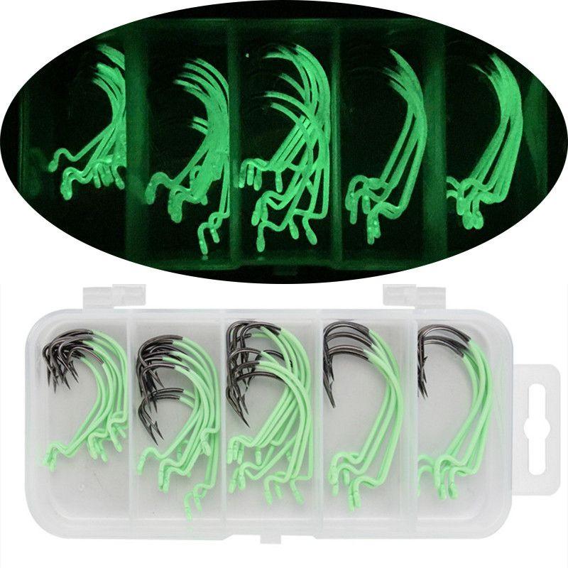 100pcs / 1box 2 # -3 / 0 # Luminous Crank Haken High Carbon Stahl Barbed Haken Angelhaken Karpfenangeln Pesca Angelgerät Zubehör