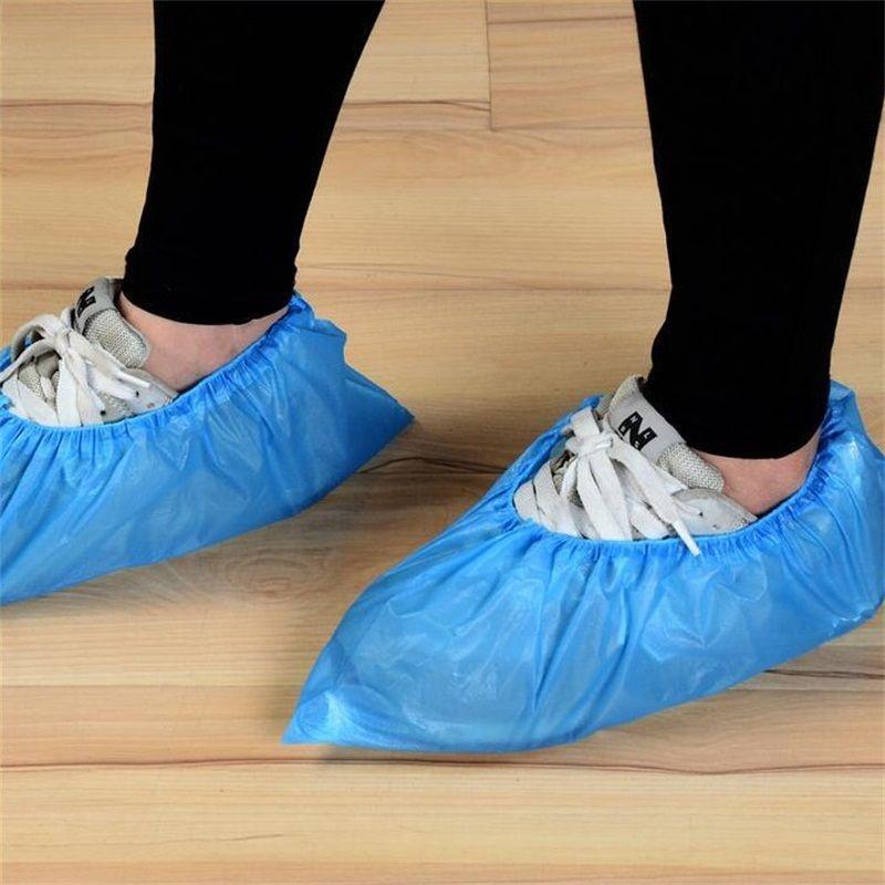Один раз Одноразовая обувь крышка синий цвета Cpe Толстые противобуксовочные защиты от пыли Галоши Загрузочный рукав для дома Очистка инструмента 10 8ld E19